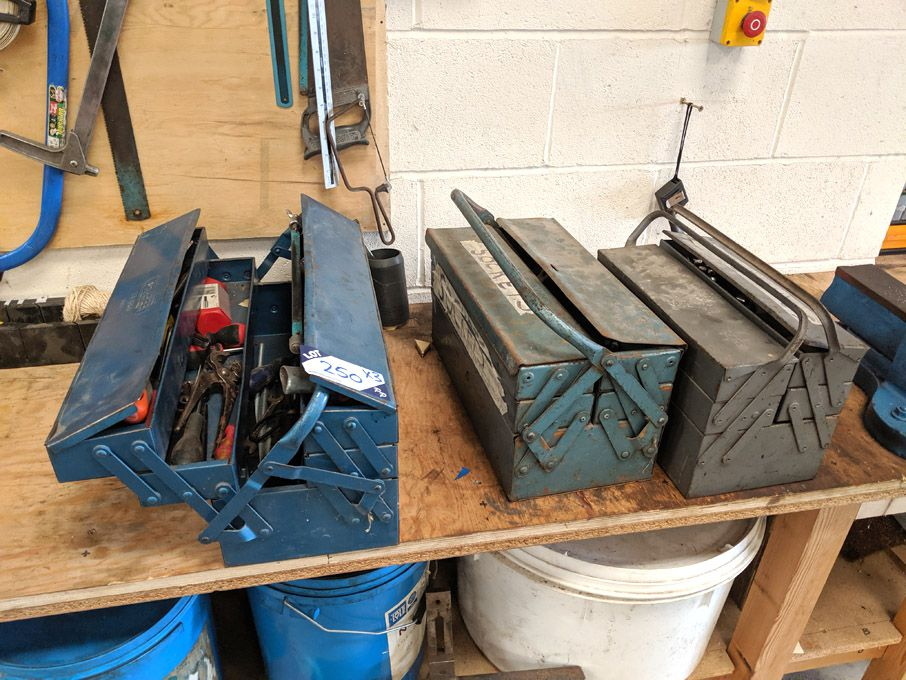 3x metal tool boxes inc contents: spanners, socket...