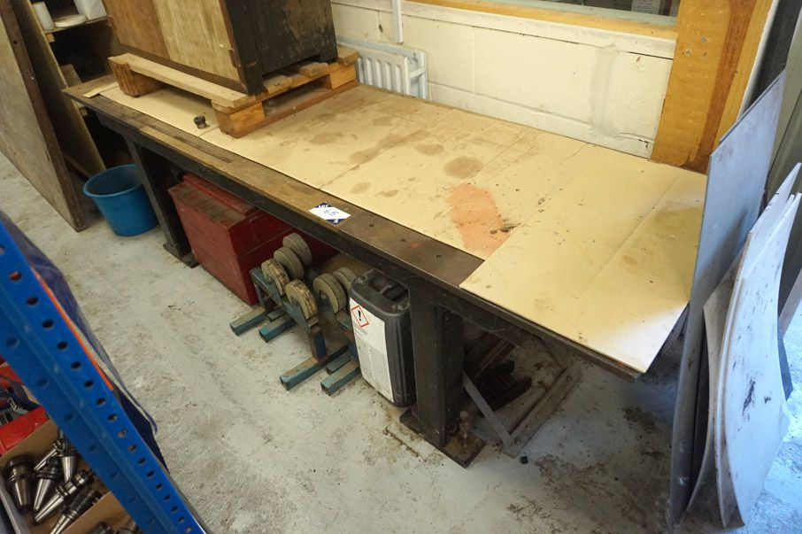 2450x720mm steel workbench with wooden insert