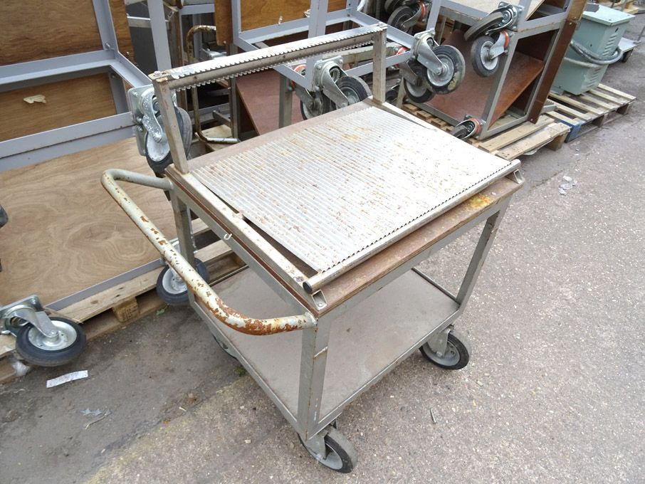 5x mobile metal trolleys, 900x600x1000mm approx -...