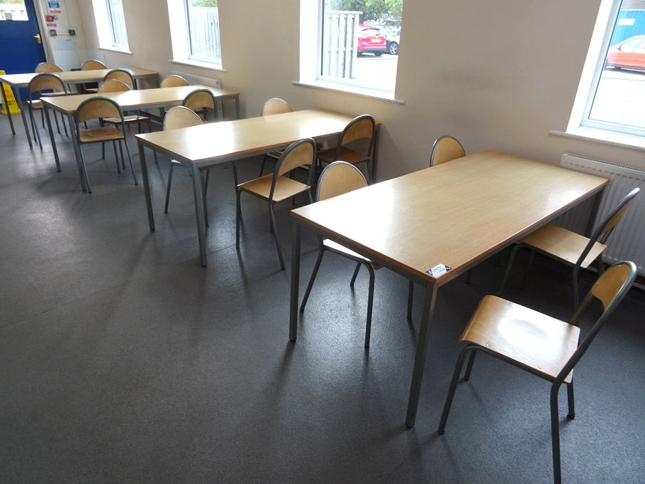 7x beech / metal tables, 1800x800mm width with 38x...