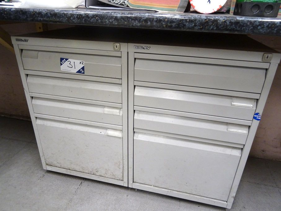 2x Bisley 4 drawer storage cabinets  - Lot located...